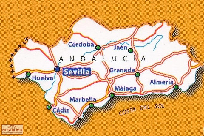 Map Of South Spain.578 South Spain Andalucia