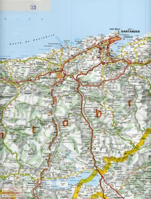572 SPAIN NORTHWEST ASTURIAS CANTABRIA road map nostromoweb