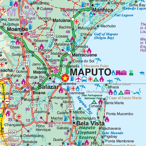 MALAWI MOZAMBIQUE travel map nostromoweb