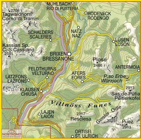 30 BRESSANONE BRIXEN Tabacco hiking map nostromoweb
