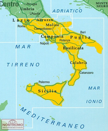 Road Map Of Southern Italy.Southern Italy
