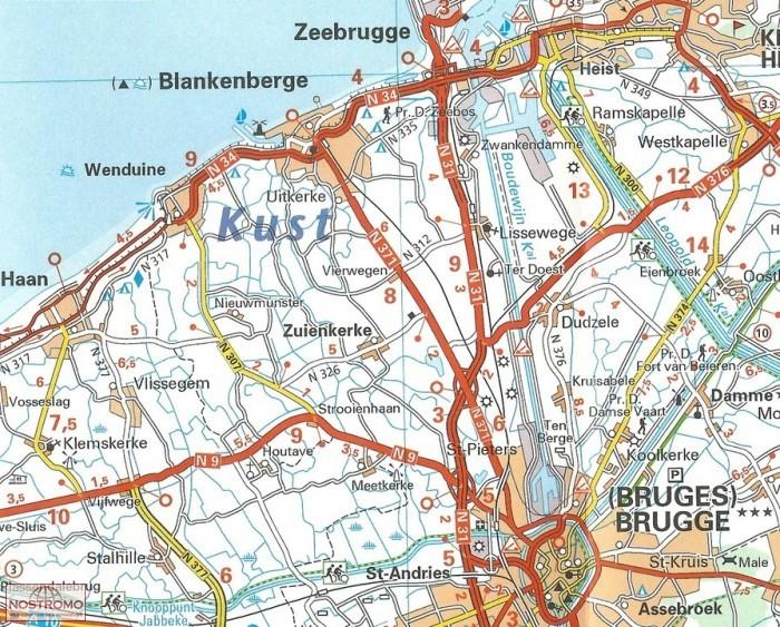378 NAMUR PROVINCE road map michelin nostromoweb