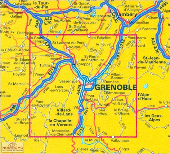 GRENOBLE SURROUNDINGS travel map nostromoweb