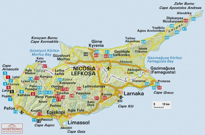 Carte Routiere Chypre Ign.Chypre Sud Et Nord