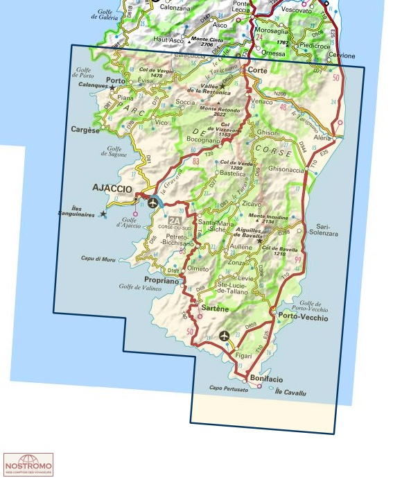 176 AJACCIO BONIFACIO IGN travel map nostromoweb
