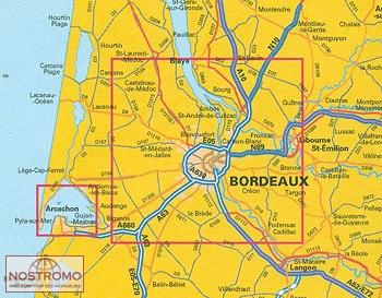 carte bordeaux et environs BORDEAUX ET SES ENVIRONS   carte touristique IGN   nostromoweb