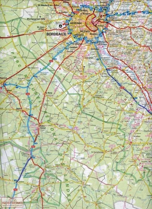 NR11 NOUVELLEAQUITAINE BASSIN AQUITAIN IGN road map nostromoweb