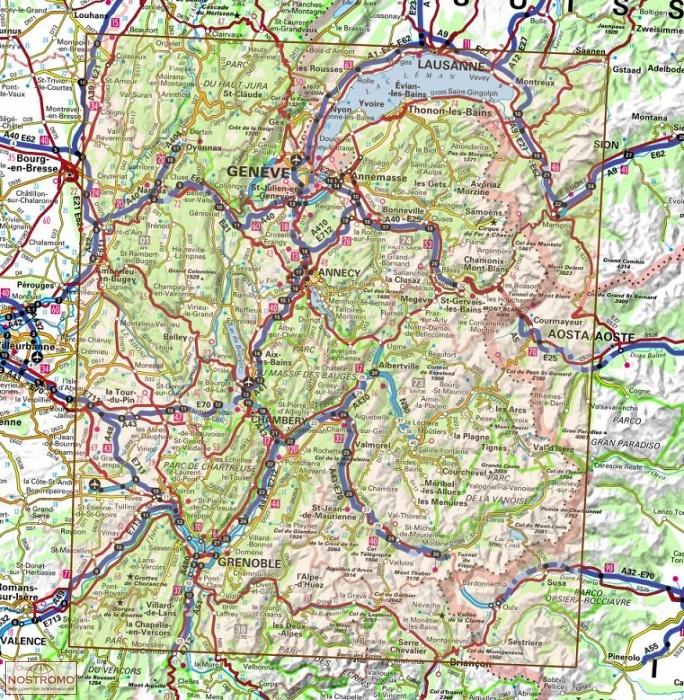 carte de la savoie 73 et 74 D73 74 SAVOIE   HAUTE SAVOIE | IGN road map | nostromoweb