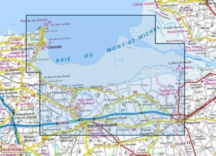carte mont st michel 1215OT LE MONT SAINT MICHEL   DOL DE BRETAGNE | IGN hiking map