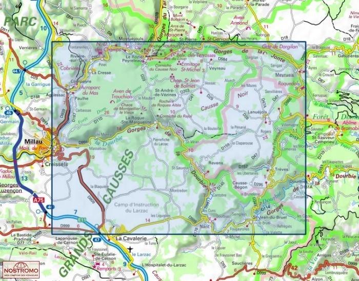 gorges de la dourbie carte 2641OT MILLAU   carte de randonnée IGN   nostromoweb