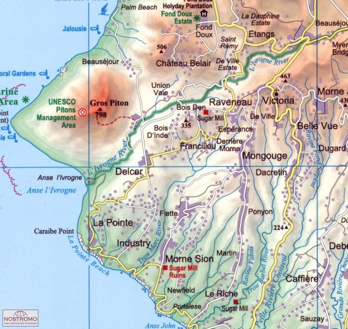 ST LUCIA travel map nostromoweb