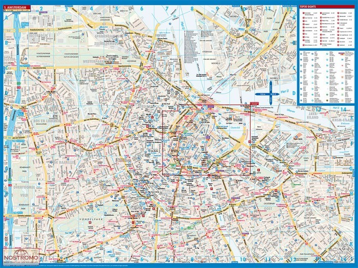 Amsterdam plan de ville borch nostromoweb - Carte amsterdam a imprimer ...