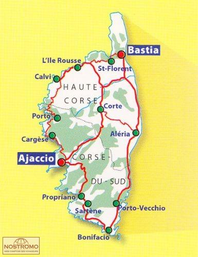 Carte Corse Touristique.345 Corse Du Sud Haute Corse