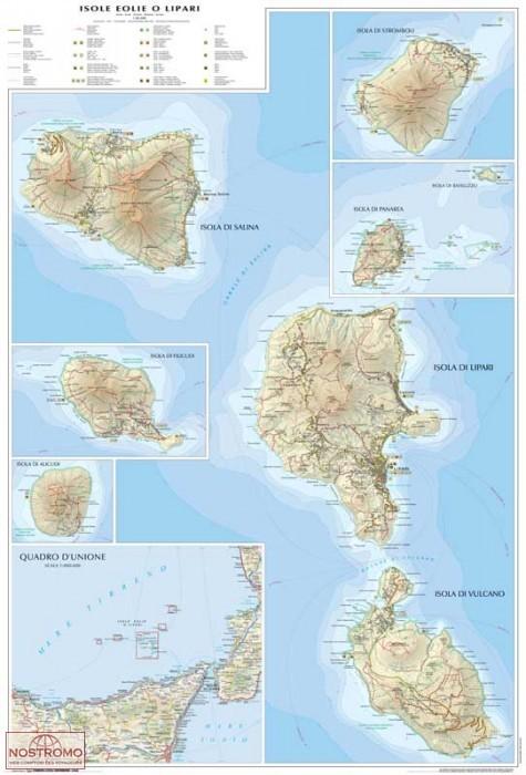 AEOLIAN ISLANDS OR LIPARI travel map nostromoweb